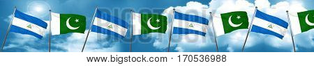 nicaragua flag with Pakistan flag, 3D rendering