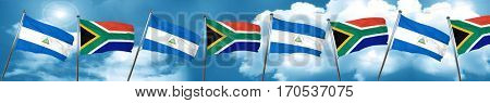 nicaragua flag with South Africa flag, 3D rendering