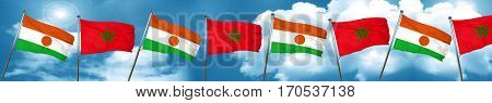 niger flag with Morocco flag, 3D rendering