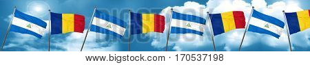 nicaragua flag with Romania flag, 3D rendering