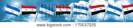 nicaragua flag with Syria flag, 3D rendering