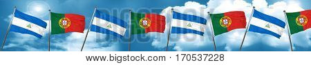 nicaragua flag with Portugal flag, 3D rendering