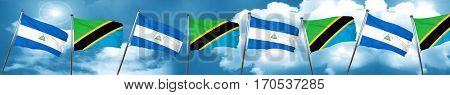 nicaragua flag with Tanzania flag, 3D rendering