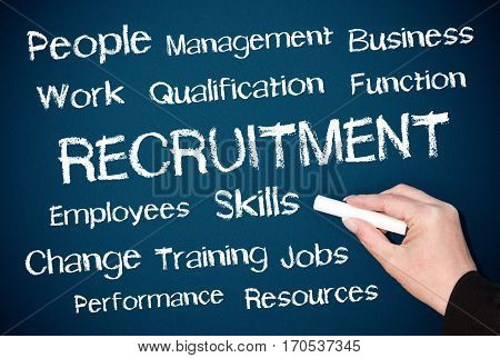 Recruitment - Human Resources - female hand writing text on blue background