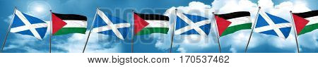 scotland flag with Palestine flag, 3D rendering
