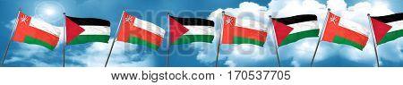 Oman flag with Palestine flag, 3D rendering