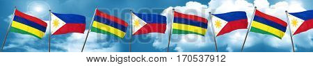Mauritius flag with Philippines flag, 3D rendering