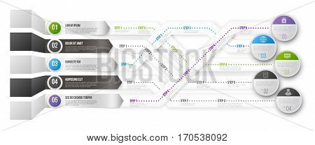 Timeline Infographic 3D Vector Template with Green, Black and Blue Arrows Pointed to Multiple Ways for Different Steps and Goals on white backoground