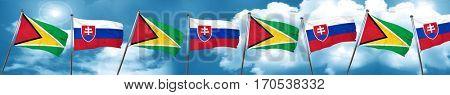 Guyana flag with Slovakia flag, 3D rendering