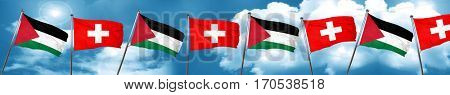 palestine flag with Switzerland flag, 3D rendering