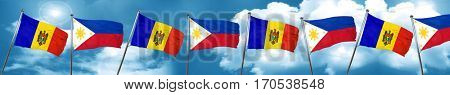 Moldova flag with Philippines flag, 3D rendering