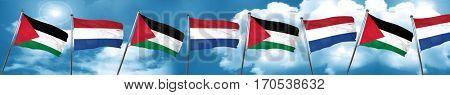 palestine flag with Netherlands flag, 3D rendering