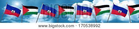 Haiti flag with Palestine flag, 3D rendering