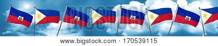 Haiti flag with Philippines flag, 3D rendering