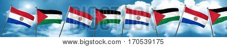 Paraguay flag with Palestine flag, 3D rendering