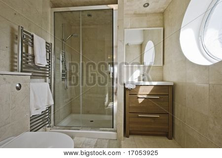 stunning modern en-suite bathroom with shower cabin