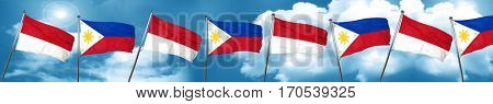 monaco flag with Philippines flag, 3D rendering