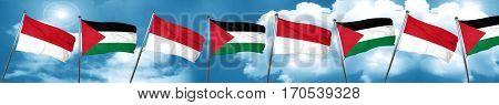 monaco flag with Palestine flag, 3D rendering