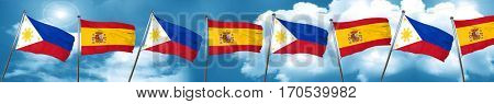 Philippines flag with Spain flag, 3D rendering