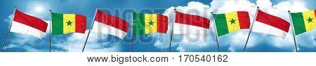monaco flag with Senegal flag, 3D rendering