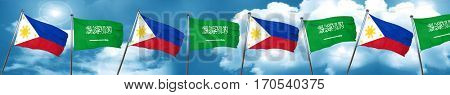 Philippines flag with Saudi Arabia flag, 3D rendering
