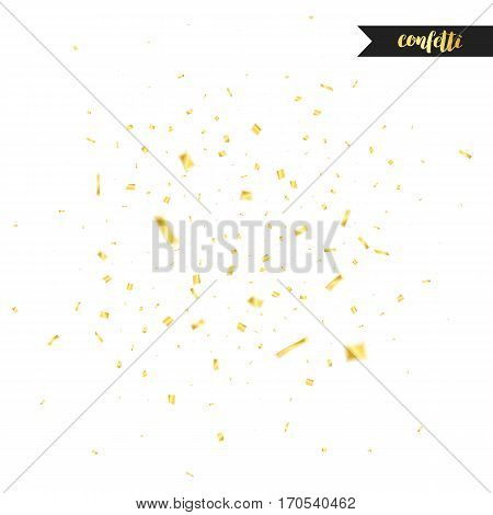Holiday confetti isolated on white background. Golden confetti. Confetti with motion effect