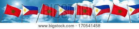 Morocco flag with Philippines flag, 3D rendering