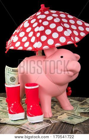 pink piggy bank and polka dot umbrella with red boots on American money