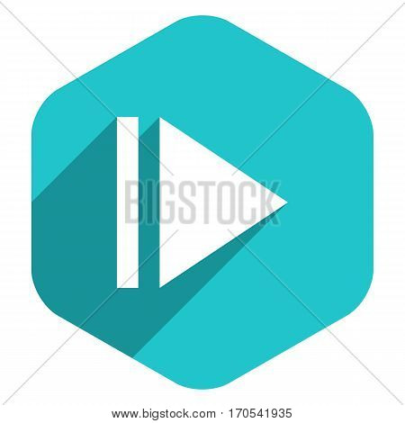 Use it in all your designs. Arrow sign eject icon in hexagon shape. Multimedia audio video movie interface button in flat long shadow style. Vector illustration a graphic element for design