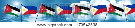 Jordan flag with Philippines flag, 3D rendering