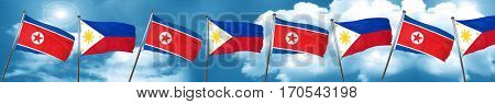 North Korea flag with Philippines flag, 3D rendering