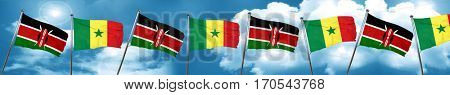 Kenya flag with Senegal flag, 3D rendering