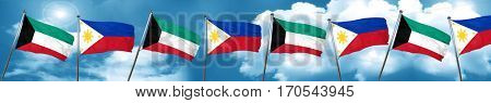 Kuwait flag with Philippines flag, 3D rendering