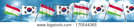 Tajikistan flag with South Korea flag, 3D rendering