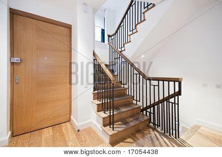 Eingangstür und moderne Treppe mit einem schönen Holzarbeiten