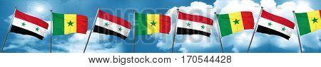 Syria flag with Senegal flag, 3D rendering