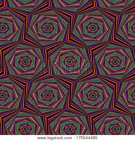 Seamless Pattern With Multicolor Hexagonal Forms
