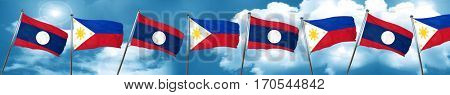 Laos flag with Philippines flag, 3D rendering