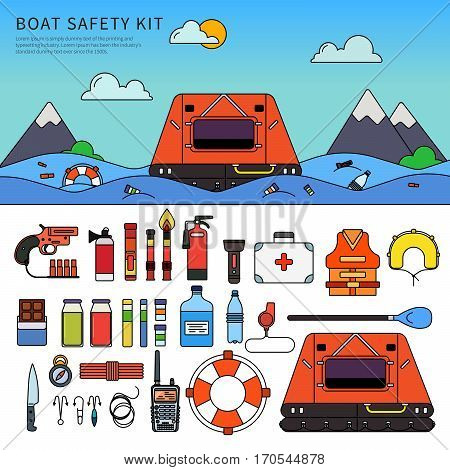 Boat safety kit. Different equipment for safety in the sea. Floating concept. Boat, life jacket, life buoy, fire-extinguishers, compass isolated on white background. Thin line flat design