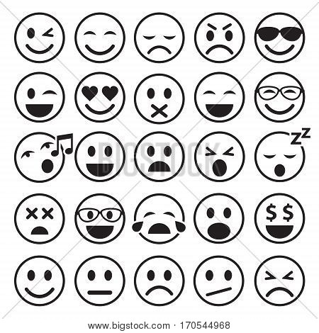 Set of Emoticons. Set of Emoji. Smile line icons. Vector isolated illustration on white background