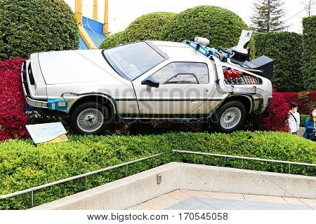 OSAKA, JAPAN - Apr 23, 2016 : Photo of A replicathe of the Back to the Future DeLorean,one of the most famous attraction at Universal Studios JAPAN, Osaka, Japan.