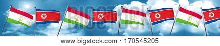 Tajikistan flag with North Korea flag, 3D rendering