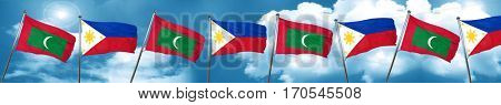 Maldives flag with Philippines flag, 3D rendering
