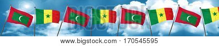 Maldives flag with Senegal flag, 3D rendering