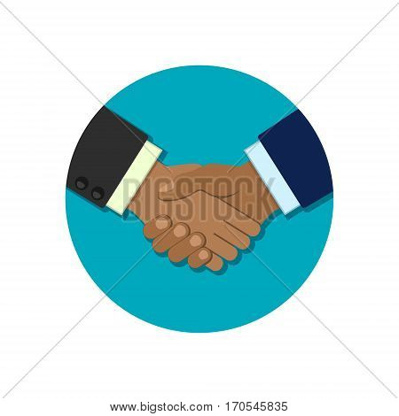 Shaking hands business vector circle illustration symbol of success deal partnership greeting shake handshaking agreement flat sign design isolated on background.