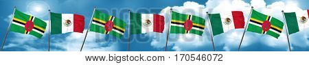 Dominica flag with Mexico flag, 3D rendering