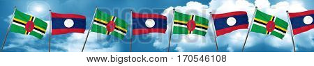 Dominica flag with Laos flag, 3D rendering