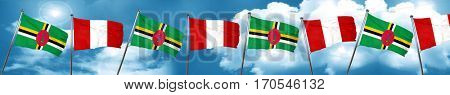Dominica flag with Peru flag, 3D rendering