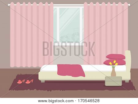 Bedroom in a pink color. There is a bed with pillows, bedside table, a vase with yellow tulips on a window background in the picture. Vector flat illustration