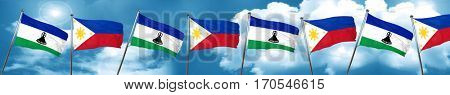 Lesotho flag with Philippines flag, 3D rendering